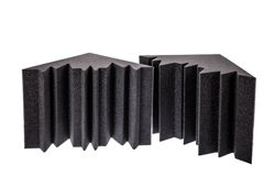 Professional studio insulation material and noise isolation. Two pieces of microfiber foam insulation for noise in the corners of the music studio or acoustic royalty free stock images