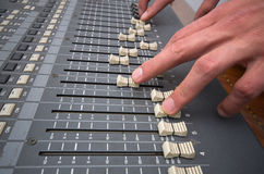 Professional studio mixing console Stock Photo