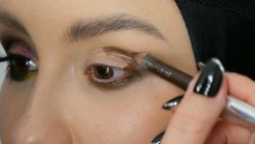 Professional stylist make-up artist makes eye makeup model. Face model with evening makeup close up view stock footage