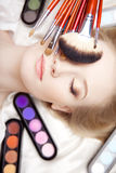 Professional stylist and make-up brushes Stock Photography