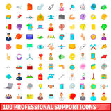 100 professional support icons set, cartoon style. 100 professional support icons set in cartoon style for any design vector illustration Royalty Free Stock Photography
