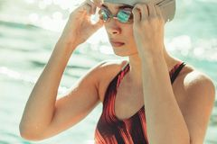 Professional swimmer ready for swimming training Royalty Free Stock Image
