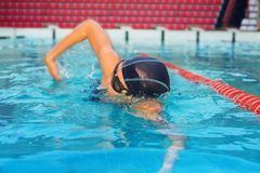 Professional swimmer on training Stock Photos