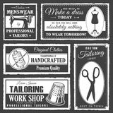 Professional tailor labels set. Set of professional tailor labels with sewing tools and vintage grunge texture Royalty Free Stock Images