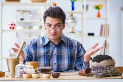 The professional tea expert trying new brews. Professional tea expert trying new brews Royalty Free Stock Photo