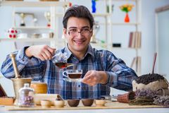 The professional tea expert trying new brews Royalty Free Stock Photo