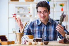 The professional tea expert trying new brews Royalty Free Stock Photos