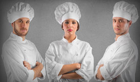 Professional team chef. Professional chef women and men with confident expressions stock photography