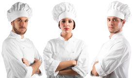 Professional team chef. Professional chef women and men with confident expressions Royalty Free Stock Photos