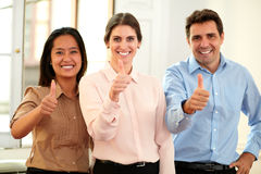 Professional team smiling at you with ok thumb Royalty Free Stock Photo