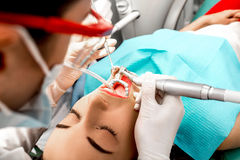 Professional teeth cleaning Royalty Free Stock Photos