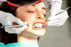 Professional teeth cleaning Stock Photo