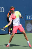 Professional tennis player Alexander Zverev of Germany in action during his second round US Open 2016 match Royalty Free Stock Photo