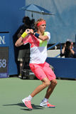 Professional tennis player Alexander Zverev of Germany in action during his second round US Open 2016 match Royalty Free Stock Images