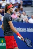 Professional tennis player Alexander Zverev of Germany in action during his 2018 US Open round of 32 match royalty free stock images