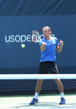 Professional tennis player Alexandr Dolgopolov from Ukraine practices for US Open 2013 Royalty Free Stock Photos