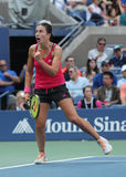 Professional tennis player Anastasija Sevastova of Latvia in action during her US Open 2016 round four match Royalty Free Stock Images