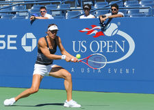 Professional tennis player Andrea Petkovic from Germany practices for US Open 2013 Royalty Free Stock Images