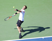 Professional tennis player Andy Murray during  quarterfinal match at US Open 2013 against  Stanislas Wawrinka Stock Photography