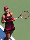 Professional tennis player Angelique Kerber celebrates victory after first round match at US Open 2014 Royalty Free Stock Images
