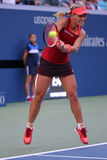 Professional tennis player Angelique Kerber of Germany in action during US Open 2015 third round match Stock Photos
