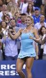 Professional tennis player Camila Giorgi during third round match at US Open 2013 against Caroline Wozniacki Royalty Free Stock Image