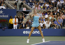 Professional tennis player Camila Giorgi during third round match at US Open 2013 against Caroline Wozniacki Stock Image