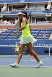 Professional tennis player Caroline Garcia of France in action during US Open 2016 women doubles final match Stock Image