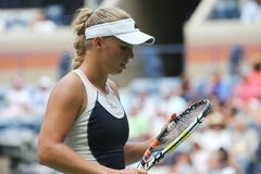 Professional tennis player Caroline Wozniacki of Denmark in action during US Open 2015 Stock Image
