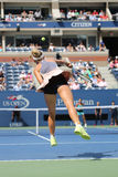 Professional tennis player Caroline Wozniacki of Denmark in action during US Open 2015 Royalty Free Stock Photography