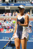 Professional tennis player Caroline Wozniacki of Denmark in action during US Open 2015 Stock Photo