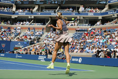 Professional tennis player Caroline Wozniacki of Denmark in action during US Open 2015 Royalty Free Stock Images