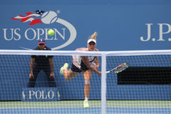 Professional tennis player Caroline Wozniacki of Denmark in action during US Open 2015 Stock Photography
