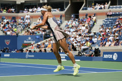 Professional tennis player Caroline Wozniacki of Denmark in action during US Open 2015 Stock Photos