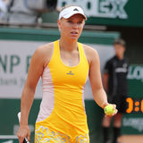 Professional tennis player Caroline Wozniacki of Denmark during her third round match at Roland Garros Royalty Free Stock Images