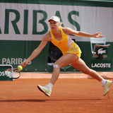 Professional tennis player Caroline Wozniacki of Denmark during her third round match at Roland Garros Stock Photos