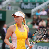 Professional tennis player Caroline Wozniacki of Denmark during her third round match at Roland Garros. PARIS, FRANCE- MAY 28, 2015: Professional tennis player royalty free stock photography