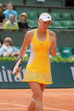 Professional tennis player Caroline Wozniacki of Denmark during her third round match at Roland Garros Stock Photography