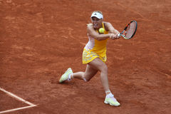 Professional tennis player Caroline Wozniacki of Denmark during her third round match at Roland Garros Royalty Free Stock Photo
