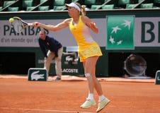 Professional tennis player Caroline Wozniacki of Denmark during her third round match at Roland Garros Stock Photo
