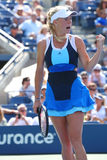 Professional tennis player Caroline Wozniacki during first round match at US Open 2013 Royalty Free Stock Image