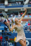 Professional tennis player Caroline Wozniacki during third round match at US Open 2014 against Mariya Sharapova Royalty Free Stock Photo