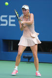 Professional tennis player Caroline Wozniacki during US Open 2014 third round match Royalty Free Stock Photo
