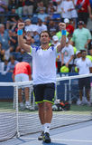 Professional tennis player David Ferrer after his win third round match at US Open 2013 against Mikhail Kukushkin Royalty Free Stock Image