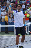 Professional tennis player David Ferrer after his win third round match at US Open 2013 against Mikhail Kukushkin Royalty Free Stock Photo