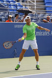 Professional tennis player David Ferrer practices for US Open 2014 Stock Photo