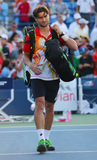 Professional tennis player David Ferrer after US Open 2014 match Royalty Free Stock Images
