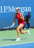 Professional tennis player Elena Vesnina during first round match at US Open 2013 Stock Images