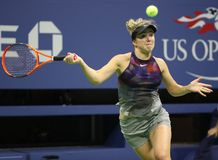 Professional tennis player Elina Svitolina of Ukraine in action during her US Open 2017 round 4 match. NEW YORK - SEPTEMBER 4, 2017: Professional tennis player Royalty Free Stock Photos