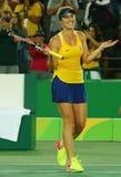Professional tennis player Elina Svitolina of Ukraine celebrates victory against Serana Williams of USA at round three match of th Royalty Free Stock Photos